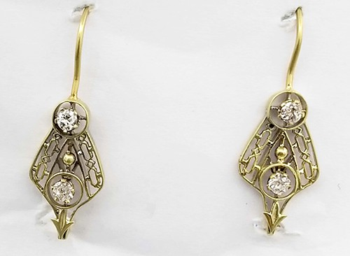 Gold Diamond Antique Fishhook Earrings