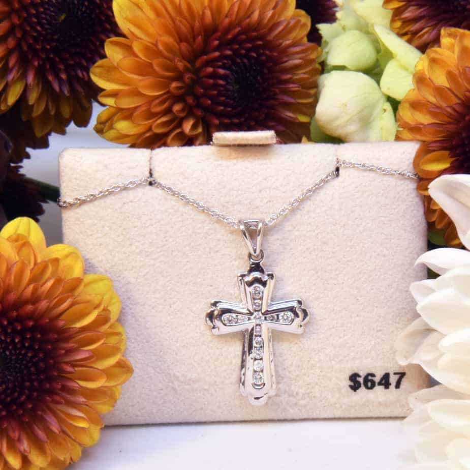 White Gold Diamond Budded Cross Necklace