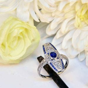 White Gold Vintage Style Sapphire and Diamond Engraved Ring