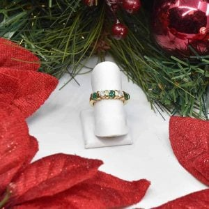 Yellow Gold Emerald and Diamond Anniversary Band