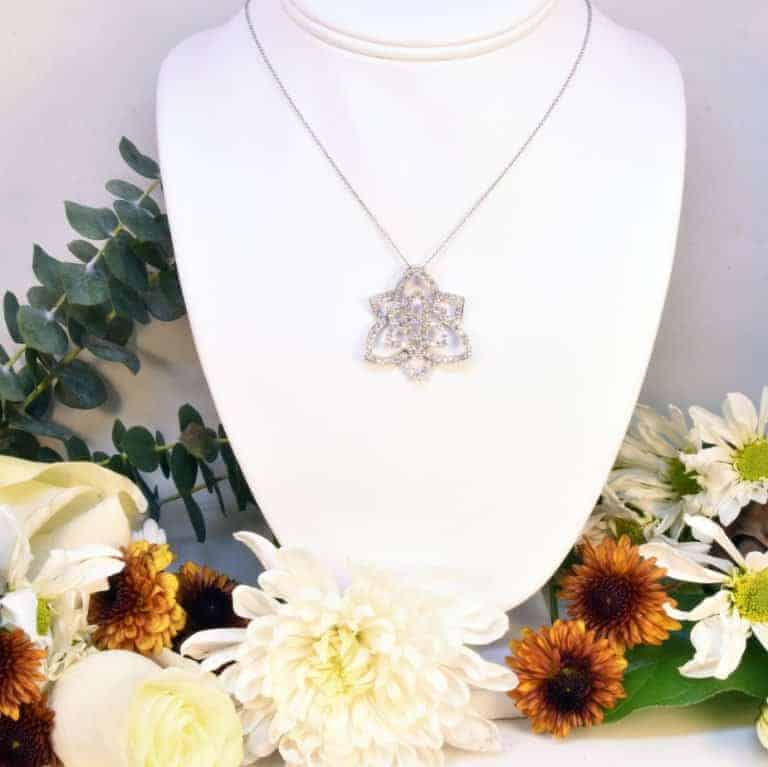 White Gold Flower Diamond Necklace