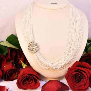 Yellow Gold Diamond Multi-Strand White Seed Pearl Necklace