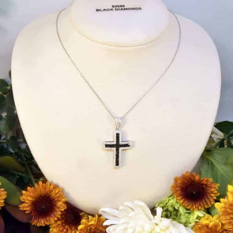 White Gold Black Diamond and White Diamond Cross Necklace