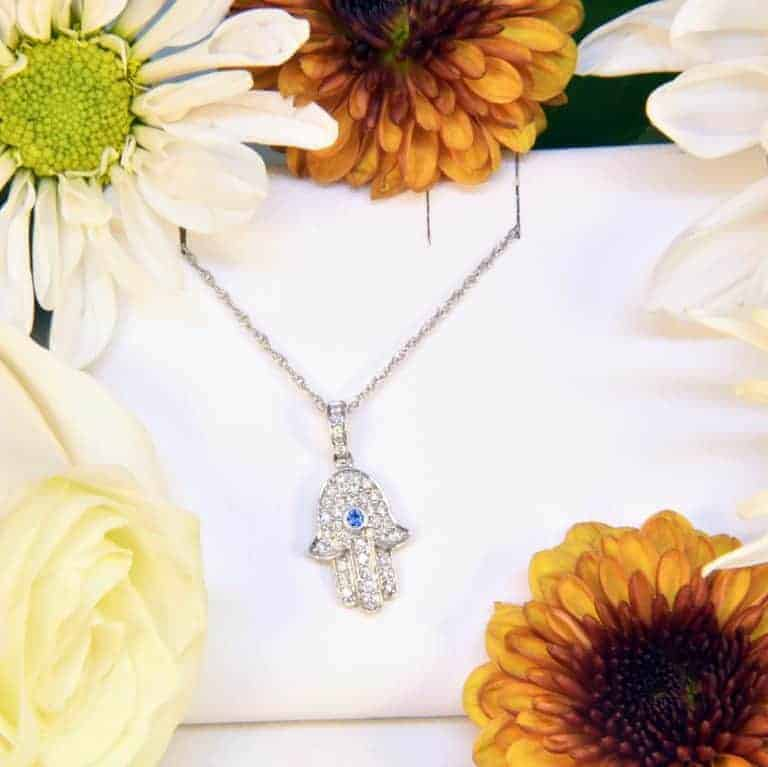 White Gold Hamsa Diamond Sapphire Necklace