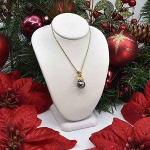 Yellow Gold Black Tahitian Pearl an Diamond Necklace