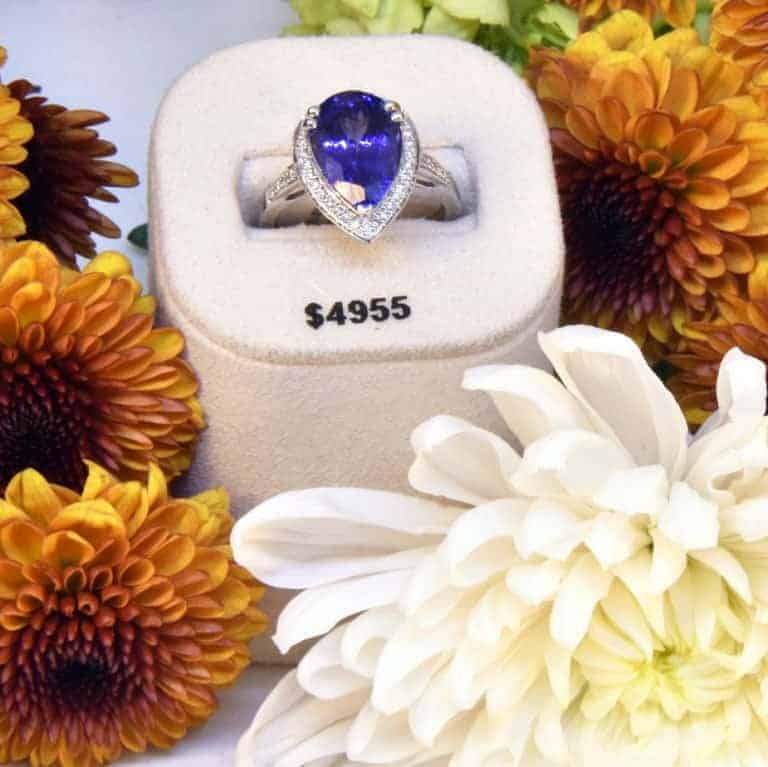 White Gold Tanzanite and Diamond Ring