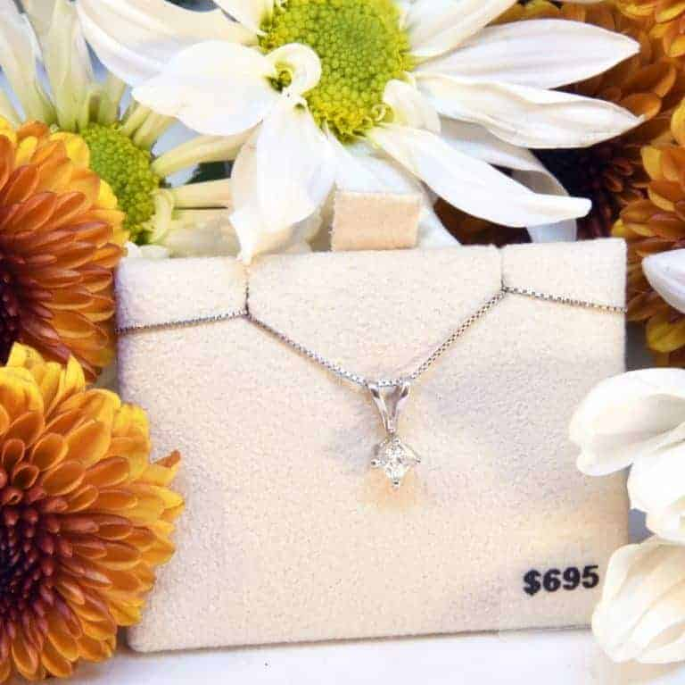 White Gold Solitaire Diamond Necklace