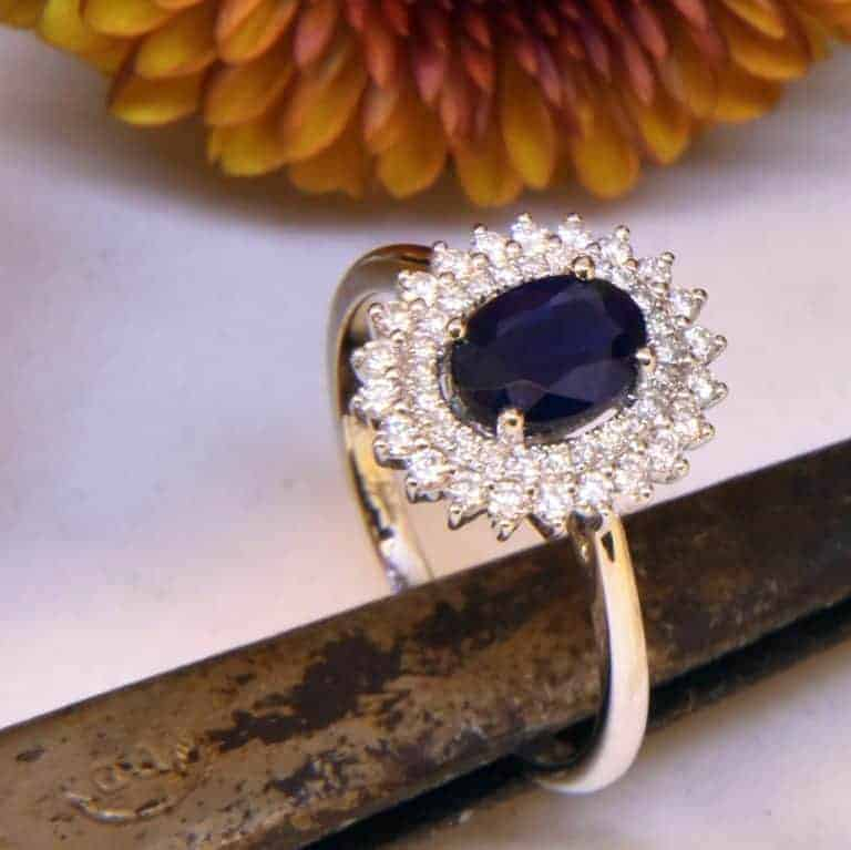 White Gold Princess Diana Sapphire Diamond Ring
