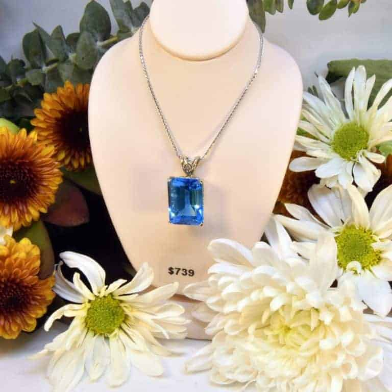 White Gold Blue Topaz Necklace