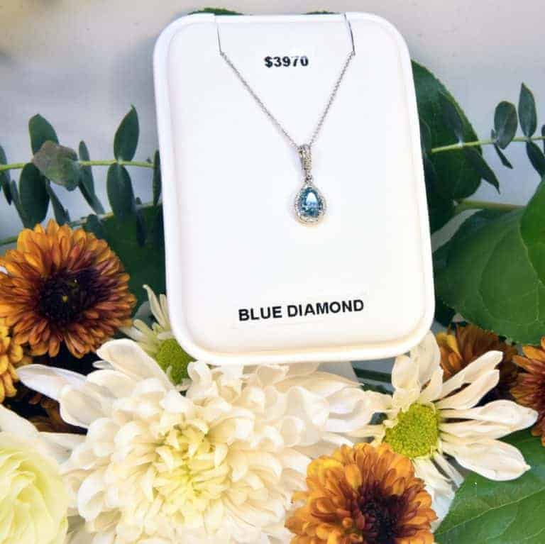 White Gold Blue Diamond Necklace