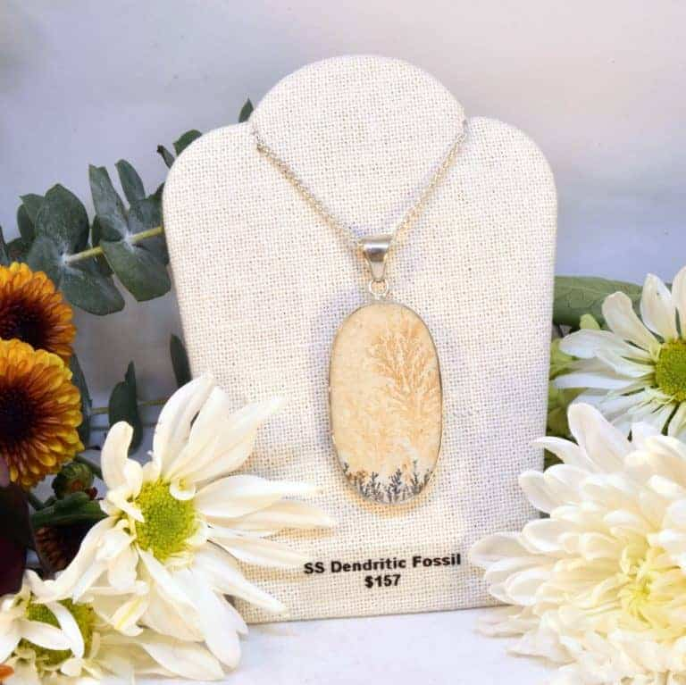 Sterling Silver Dendritic Fossil Necklace