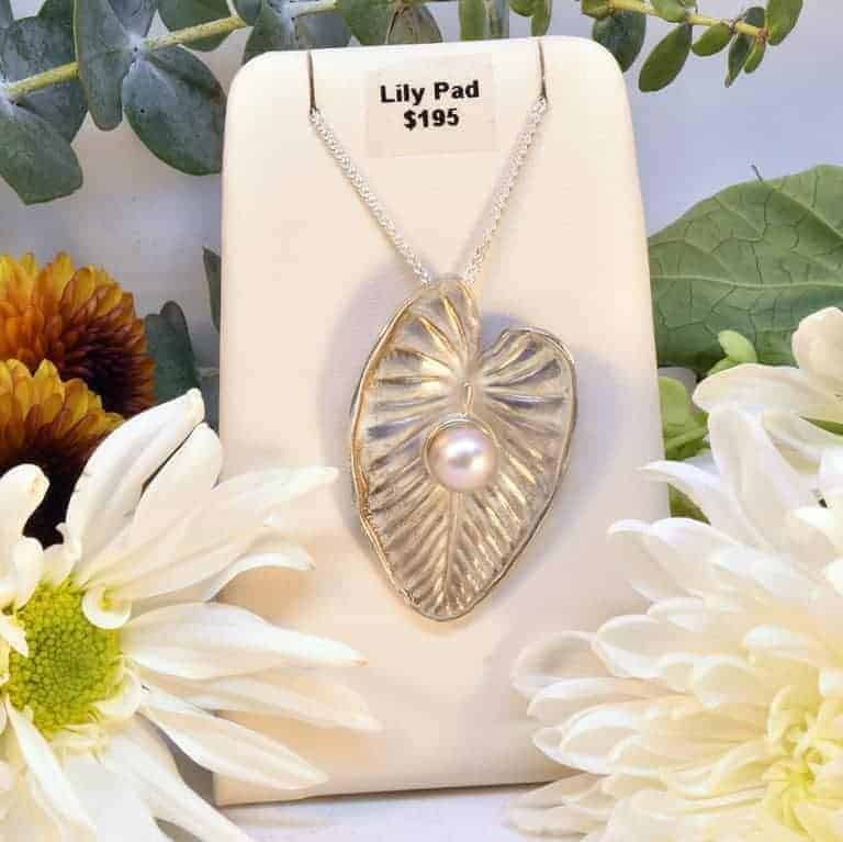 Sterling Silver Pearl Lily Pad Necklace
