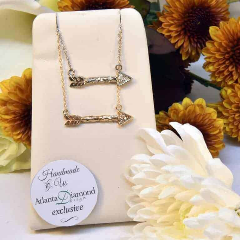 White, Yellow, or Rose Gold Diamond Loving Arrow Necklace