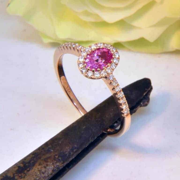 Rose Gold Pink Sapphire and Diamond Ring