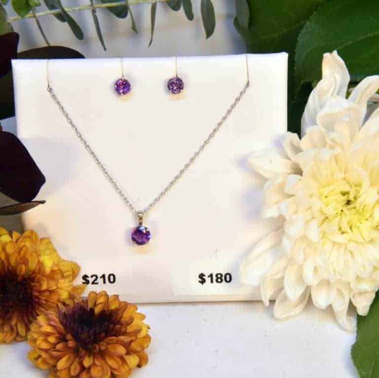 White Gold Amethyst Earrings and Necklace