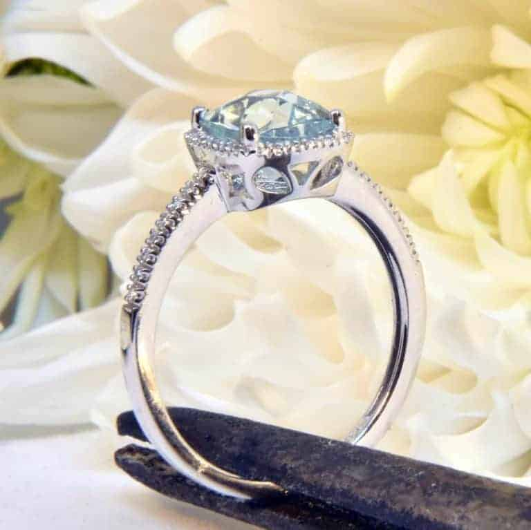 White Gold Aquamarine and Diamond Ring