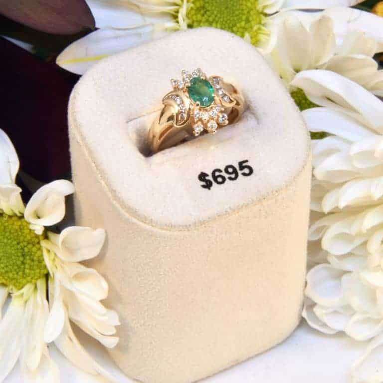 Estate Yellow Gold Emerald and Diamond Ring