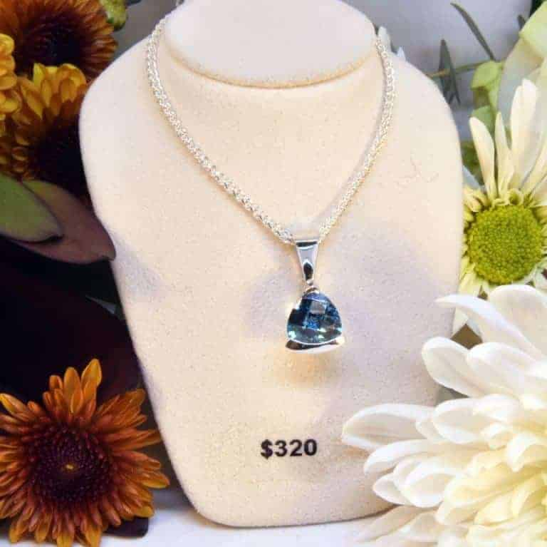 Sterling Silver Caribbean Blue Topaz Necklace