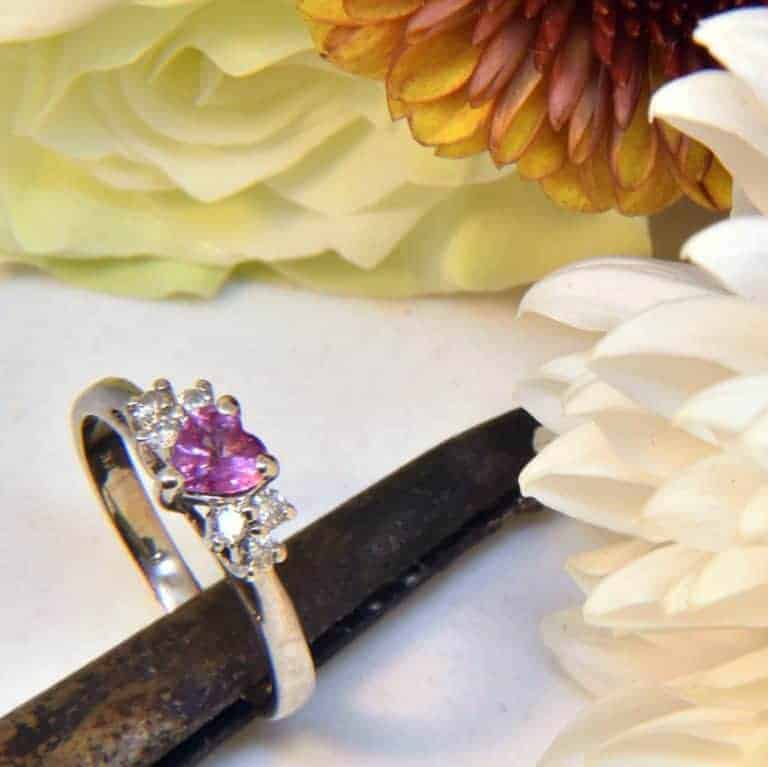 White Gold Pink Sapphire Heart and White Diamond Ring