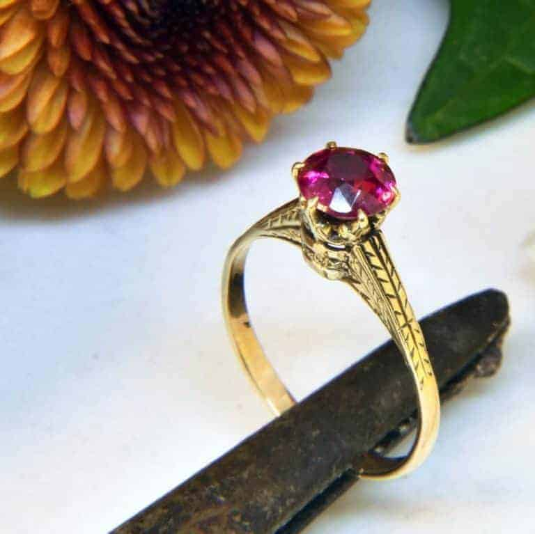 Yellow Gold Antique Pink Sapphire Engraved Ring