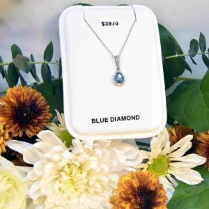 White Gold Blue Diamond and White Diamond Necklace $3,970