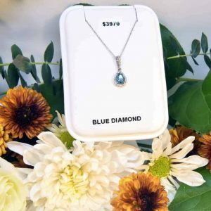 White Gold Blue Diamond and White Diamond Necklace
