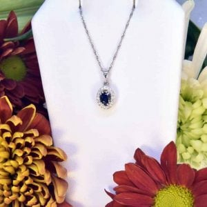 White Gold Sapphire Diamond Necklace