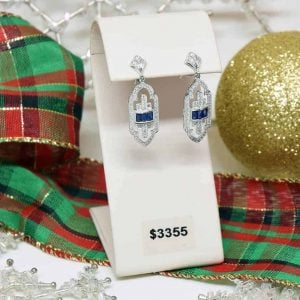 White Gold Vintage Art Deco Style Sapphire and Diamond Earrings $3355