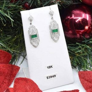 Vintage Style Emerald and Diamond Earrings $3,949