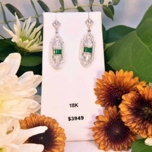 Vintage Style Emerald and Diamond Earrings