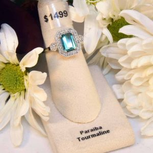 White Gold Paraiba Tourmaline and Diamond Ring
