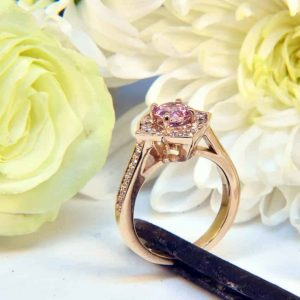 Rose Gold Pink Tourmaline And Diamond Ring