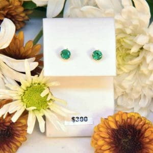 Yellow Gold Emerald Earrings