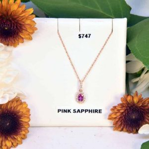 Rose Gold Pink Sapphire and White Diamond Necklace