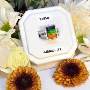 White Gold Ammolite and Diamond Ring