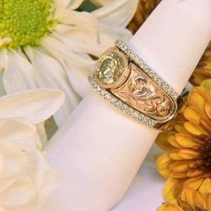 Rose and White Gold Hand-Engraved Yellow Diamond & White Diamond Engraved Ring