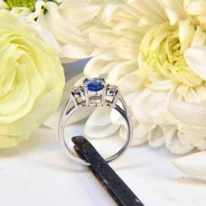 White Gold Ceylon Sapphire and Diamond Ring