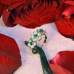 Platinum Emerald and Diamond Flower Ring