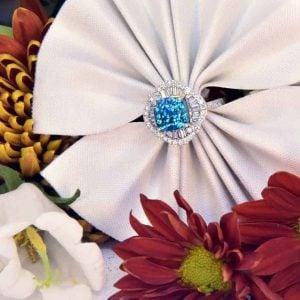 White Gold Blue Zircon and Diamond Ring