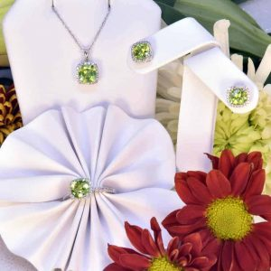 White Gold Peridot and Diamond Necklace Ring and Earrings