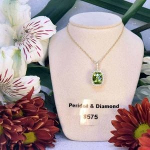 Yellow Gold Peridot and Diamond Necklace