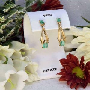 Yellow Gold Emerald and Diamond Earrings