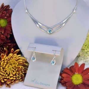Sterling Silver and Blue Topaz Necklace and Earrings