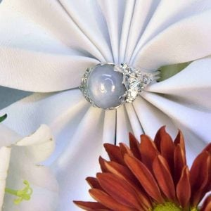 White Gold Star Sapphire and Diamond Estate Ring