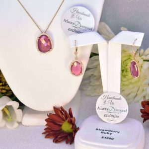 Yellow Gold Strawberry Ruby and Diamond Necklace and Earrings