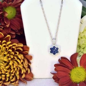 White Gold Sapphire and Diamond Necklace.