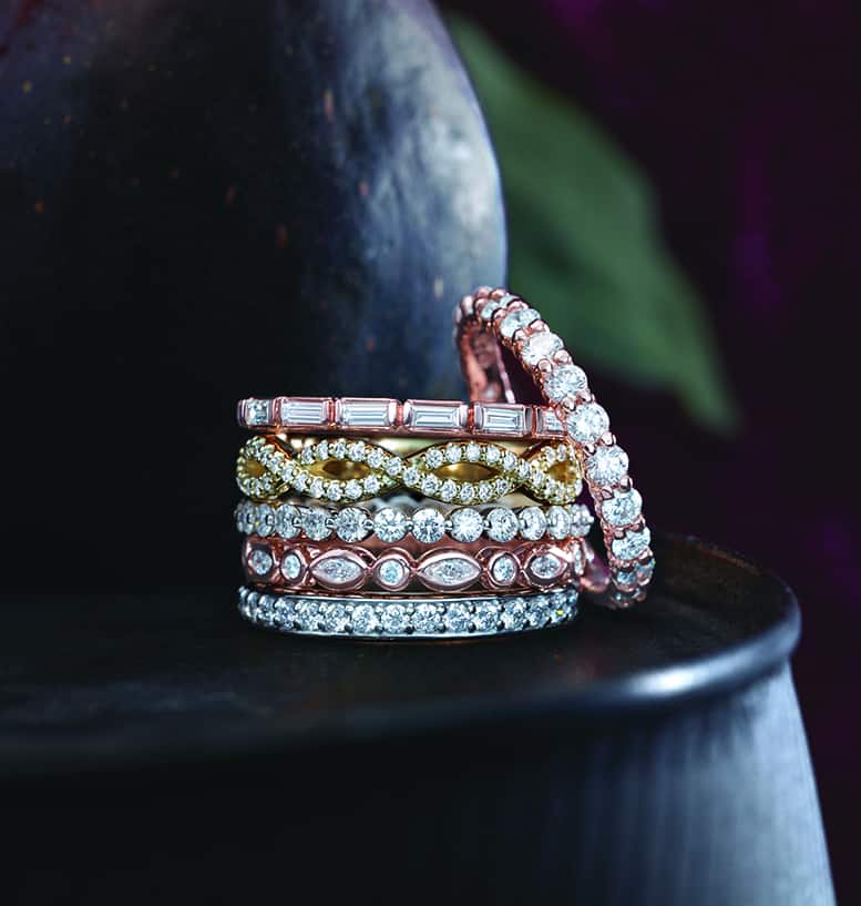 Rose gold, yellow gold, white gold, and platinum diamond stackables